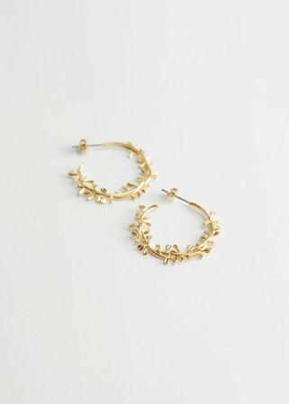 Floral Embossed Open Hoop Earrings - Gold - Hoops - & Other Stories US