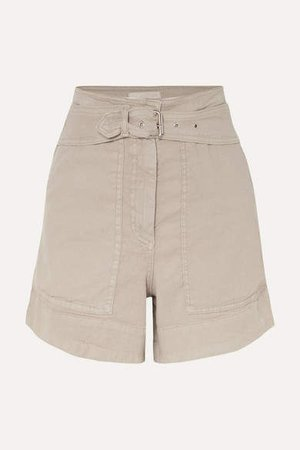 Belted Linen-blend Shorts - Gray green
