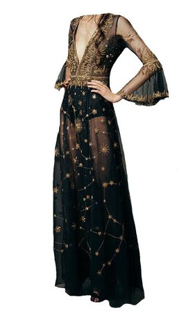 black couture gown with gold embroidered stars