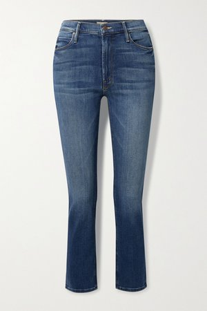 Blue The Dazzler high-rise straight-leg jeans | Mother | NET-A-PORTER
