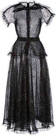 Rodarte Ruffle-Trimmed Glittered Tulle Midi Dress