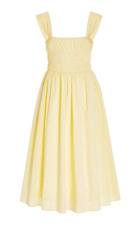 Ida Smocked Cotton Midi Dress By Staud | Moda Operandi