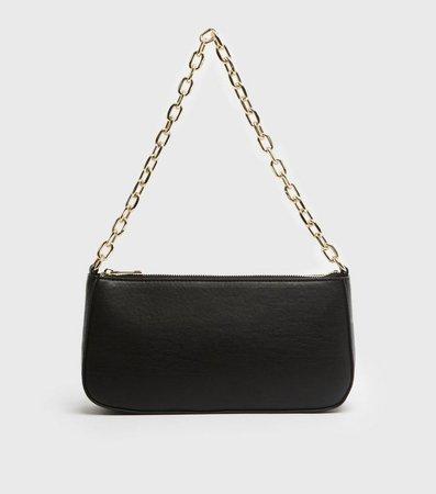 Black Chunky Chain Shoulder Bag | New Look