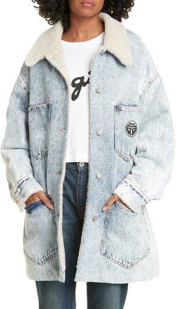 Faux Shearling Lined Denim Jacket
