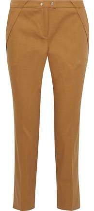 Pleated Stretch-cotton Twill Slim-leg Pants