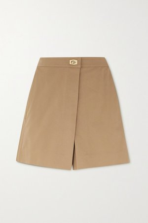 Wrap-effect Cotton-twill Shorts - Beige