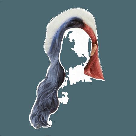 Half Pink Half Blue hair with white beret (heavenscent edit)