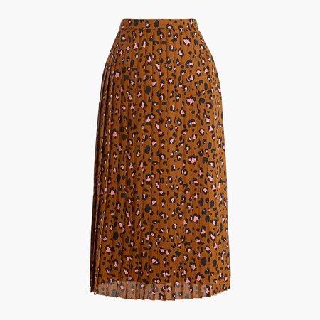 Petite printed long pleated midi skirt