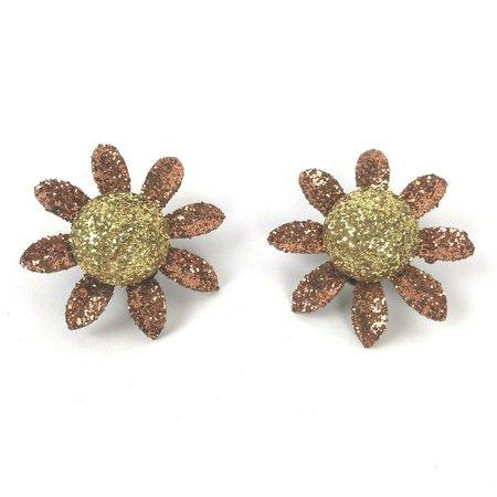 Vintage Flower Metal Clip on Earrings Glitter hippy Boho Statement runway | eBay