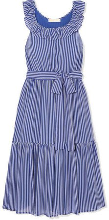 Striped Tiered Crepe Midi Dress - Blue