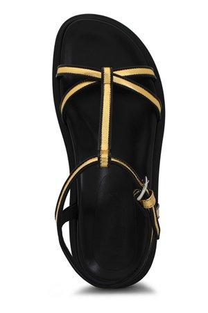 Gold Metallic leather sandals  MARNI