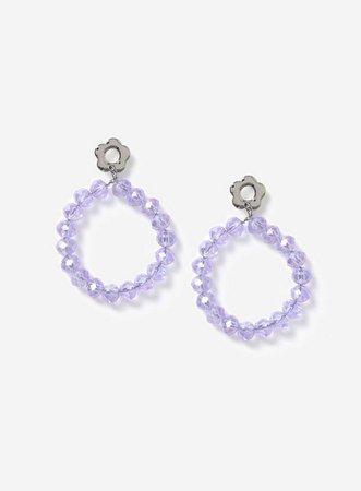 Rhodium Look Blue Daisy Drop Earrings | Miss Selfridge