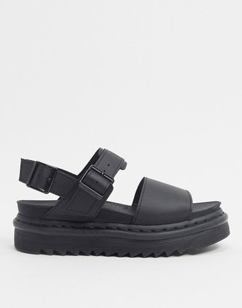Dr Martens Voss black leather flat chunky sandals | ASOS