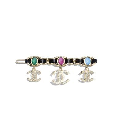 Hair Clip, metal, glass pearls, lambskin & strass, gold, pearly white, black, crystal & multicolor - CHANEL