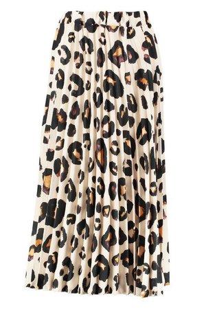 Tall Leopard Print Pleated Midi Skirt   Boohoo