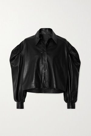 Black Cropped leather jacket   Valentino   NET-A-PORTER