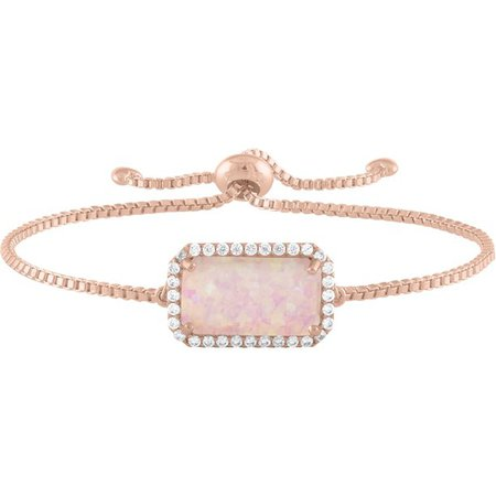 Believe by Brilliance - Believe by Brilliance Sterling Silver Plated with 14kt Gold Flash Plating Simulated Opal and CZ Emerald Cut Adjustable Bracelet - Walmart.com - Walmart.com