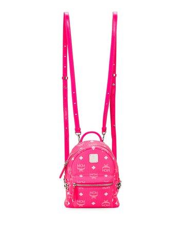 MCM Stark 20 Visetos Neon Logo-Print Mini Backpack