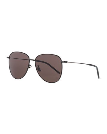 Saint Laurent Semi-Round Metal Aviator Sunglasses | Neiman Marcus
