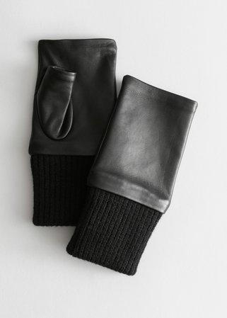 Fingerless Leather Gloves - Black - Gloves - & Other Stories