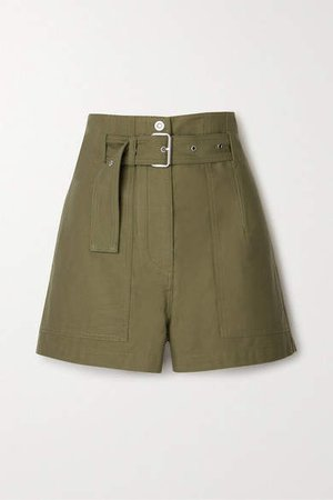 Belted Cotton-twill Shorts - Army green