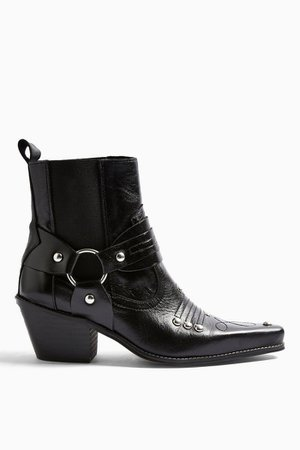 MEXICO Black Western Leather Boots | Topshop