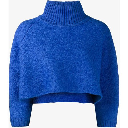 Blue Cropped Turtleneck Sweater