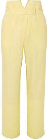 Silk And Wool-blend Straight-leg Pants - Pastel yellow