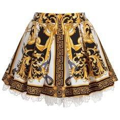 Versace Girls Baroque Silk Skirt