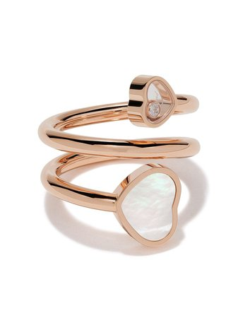 Chopard 18kt Rose Gold Happy Hearts Diamond And mother-of-pearl Twist Ring - Farfetch