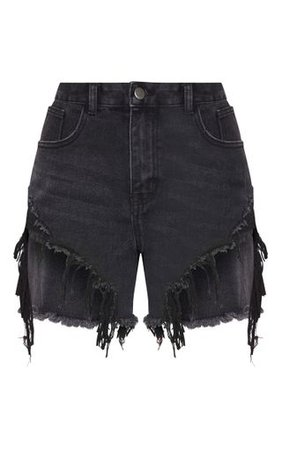 Washed Black Distressed Denim Shorts   Denim   PrettyLittleThing