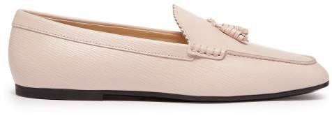 Tassel Front Grained Leather Loafers - Womens - Light Pink