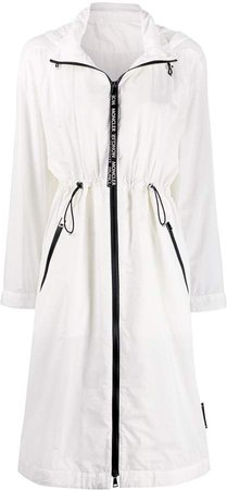 drawstring waist hooded raincoat