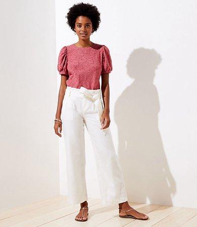 Petite Linen Blend Wide Leg Pants