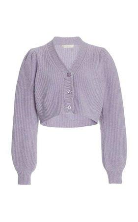 Avignon Puff-Sleeve Wool-Cashmere Cropped Cardigan By Loveshackfancy   Moda Operandi