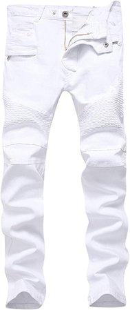 Men's White Biker Jeans Slim Straight Stretch Skinny Fit Moto Denim Jeans, W30, White at Amazon Men's Clothing store