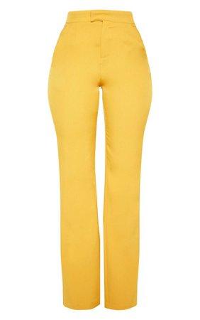 Mustard Wide Leg Trouser | Trousers | PrettyLittleThing USA