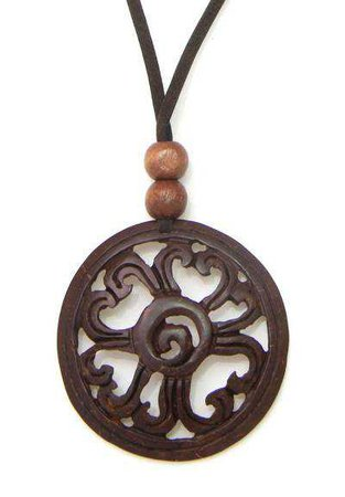 Hand Made Floral Coconut Shell Pendant Necklace - Like a Flower   NOVICA