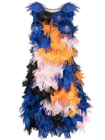 Paskal ruffled sleeveless mini dress blue & orange PS2118 - Farfetch