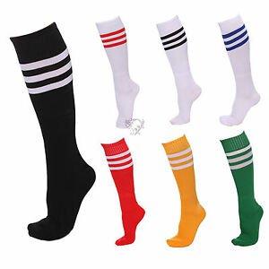 FOOTBALL CHEERLEADER SOCKS SPORT OVER KNEE HIGH STRIPED SOCKS 1/2/5 PAIRS   eBay