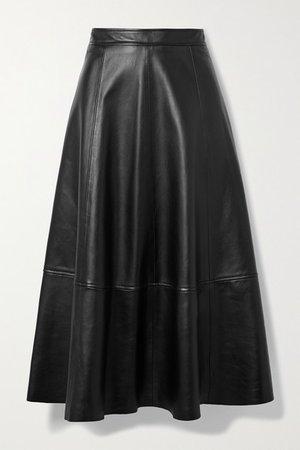 Paneled Leather Midi Skirt - Black
