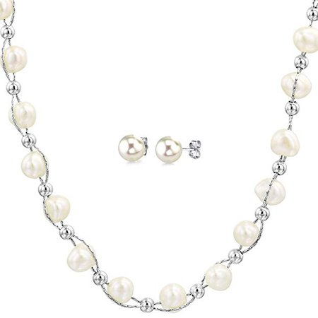 Amazon.com: DiDaDo Entwined Cultured White Pearl and Sterling Silver Beads Chain Necklace with Bonus Sterling Pearl Studs: Jewelry