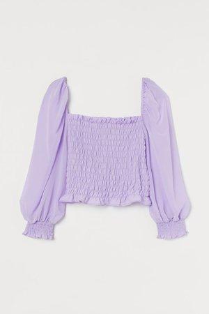 Short Shirred Blouse - Light purple - Ladies | H&M US