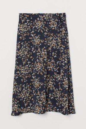 Wrap-front Skirt - Dark blue/floral - Ladies   H&M US