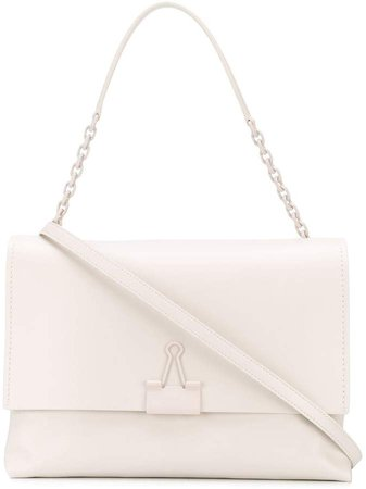 Off White Soft Binder Clip shoulder bag