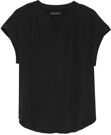 Black Washable Silk Blouse
