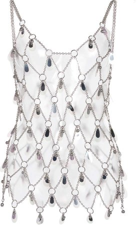 Paco Rabanne Chain-link Embellished Metal Tank Top