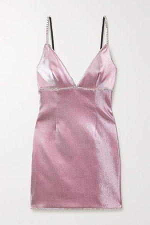 Crystal-embellished Lurex Mini Dress - Pink