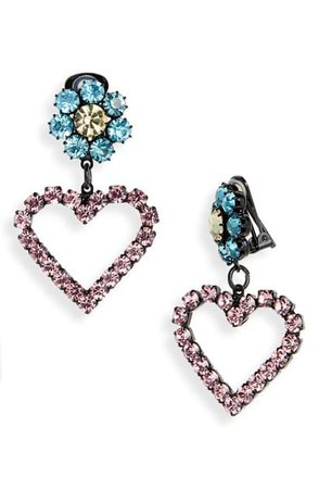 Ashley Williams Lil Heart Crystal Clip-on Earrings In Pink/ Blue   ModeSens   Clip on earrings, Crystals, Ashley williams