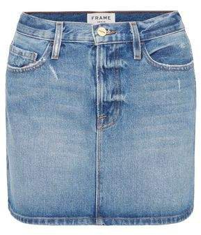 Le Mini Distressed Denim Mini Skirt